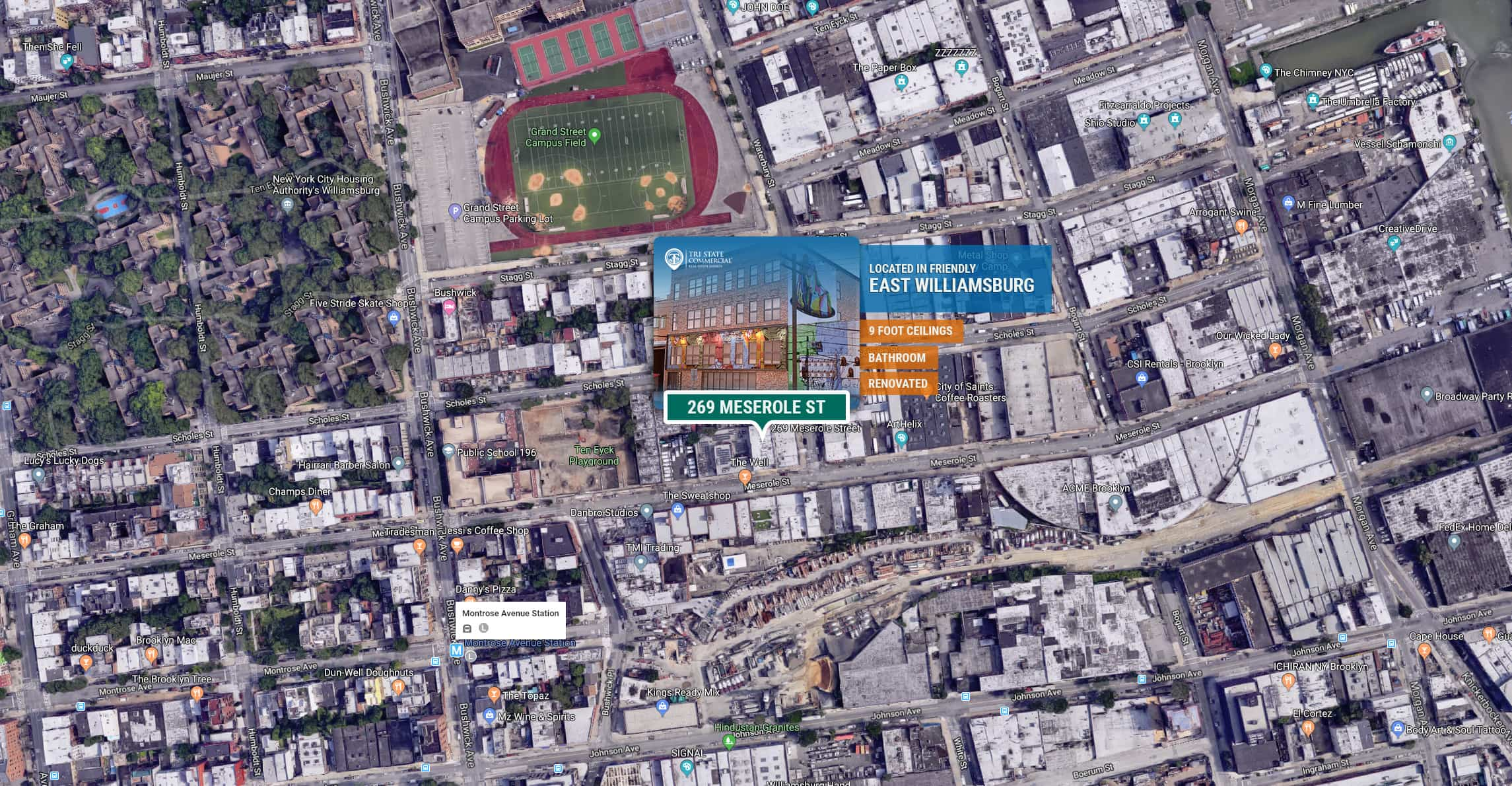 2,500 RSF | 269 Meserole St | Retail | Warehouse • Tri State
